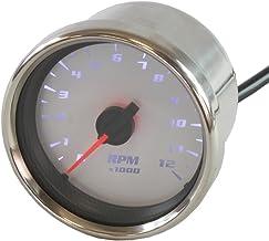 ライズコーポレーション バイク用タコメーター LEDバックライト機能付 12000RPM 電気式 60パイ ホワイト T07Z9990002WH