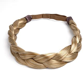 Ty.Hermenlisa Chunky Synthetic Hair Braided Headband Classic Wide Braids Elastic Stretch Hairpiece Women Beauty Accessory, 50g, Honey Blonde