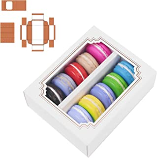 MCART Macaron Boxes for 10 to 12 [12 Pack] Macarons Packaging Boxes with Clear Display Window, Bakery Boxes or Container f...