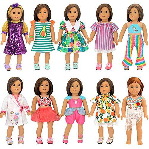 Miunana 10 Kleidung Kleider Puppenkleidung für Our Generation, American Girl Puppen & 45-46cm Puppen Xmas