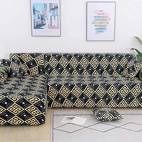 Funda para sofá de 3 y 2 plazas, Funda para sillón en Forma de L para salón, Funda Completa,Color_21,2-Seater_145-185
