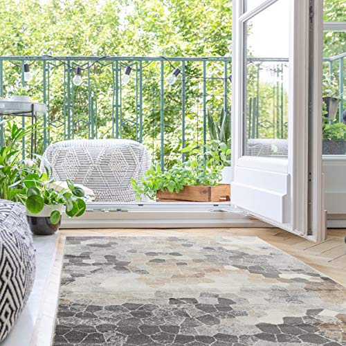 mynes Home Moderner Kurzflor Teppich in Beige Grau Braun mit geometrischen Mozaik Steinmuster - auch als Wohnzimmerteppich und Kinderzimmerteppich geeignet (80x150 cm)