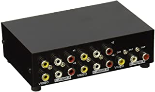 AuviPal 4-Way RCA Switcher 4 in 1 Out Composite Video L/R Stereo Audio AV Selector Box for DVD VCR VHS/AV Receiver/ PS2/ N...