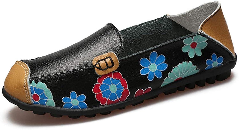 Goodtimeshow Cow Muscle Ballet Summer Flower Print Women Genuine Leather shoes Woman Flat Flexible Nurse Peas Loafer Flats Appliquesm