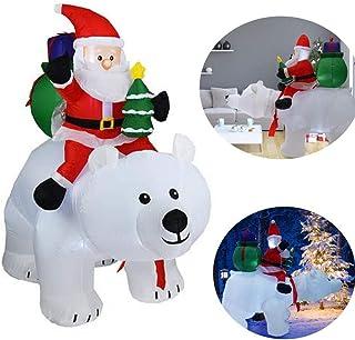 YONII 2.1m Decoraciones de muñecas inflables navideñas, Oso Polar Papá Noel, Papá Noel Inflable con Cabeza Sacudida, decoración de Navidad con luz LED para jardín de Patio con luz Interior y Exterior