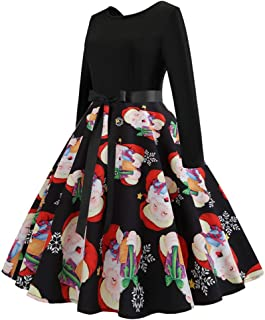 0d14bb6415e1 FEDULK Sale Christmas Dress for Women FEDULK Santa Claus Print Vintage Gown  Evening Swing Dress