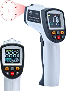 Laser Infrared Thermometer  LCD Non Contact Professional High Temperature Gun Pyrometer with Dual Laser Visual Target  Temp Alarm  Adjustable Emissivity 0 1 1 0  Max Min Avg Dif -50 C-750 C