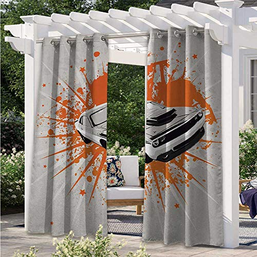 Custom Outdoor Curtain Graffiti Style Inspired Sports Car Sprinting Work with Splash Color Elements Fashion Design Outdoor Curtain Drape for Patio Door Pergola Christmas Decoration W108 x L84 Inch