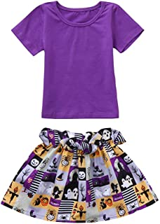 Fashion Outfits Set Toddler Infant Baby Girls Tops Printed Costume Skirt Short Sleeve O-Neck Halloween Outfits Set