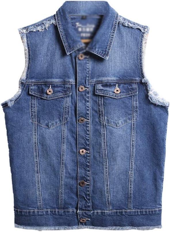 Vests Men/Clothing/Jackets & Coats Men's Denim Slim Jacket Sleeveless Large Size Denim Short Sleeveless Shoulder Casual Jacket Best Gift (Color : Blue, Size : M)