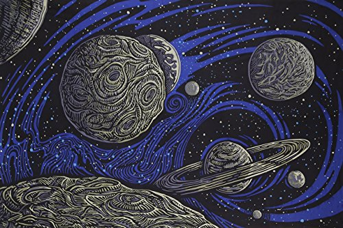 Sunshine Joy 3D Galactic Outer Space Planetary Psych Art Tapestry Wall Hanging Huge 60x90 Inches