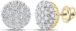 FB جواهر الذهب الأصفر 10kt رجل جولة الماس العنقودية أقراط 1-5/8 Cttw