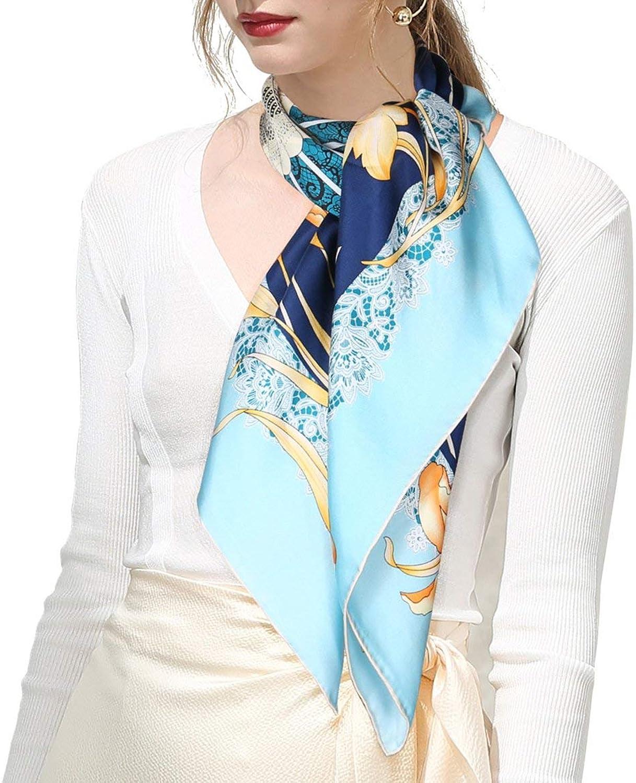Oscar Rossa 100% Silk Scarf, 35 x35 Large Square Printed Silk Twill Scarf