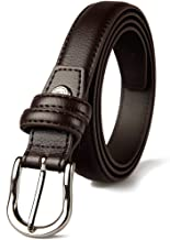 PU Leather Belts for Women with Vintage Ladies Belt for Dress Pants and Jeans Waist Band Belt with Milled Flatware Buckle Casual Belt (Color : Coffee)