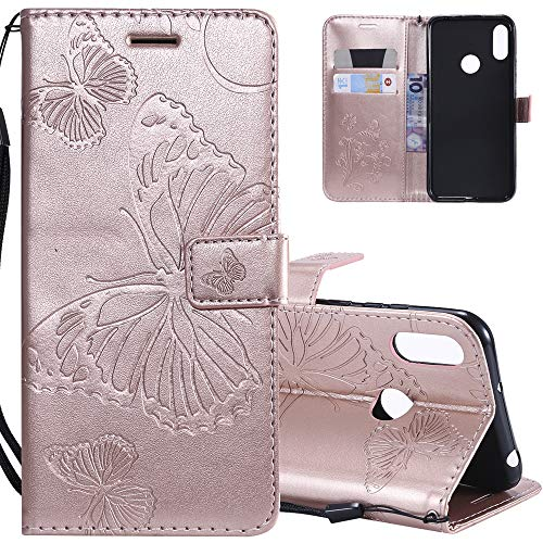 HMTECHUS Y6 Pro 2019 Case Elegant Embossed Butterfly Card Slots Bookstyle Wallet PU Leather Magnetic Closure Flip Kickstand Shockproof Compatible Huawei Y6 2019 / Honor 8A Big Butterfly Rose Gold KT