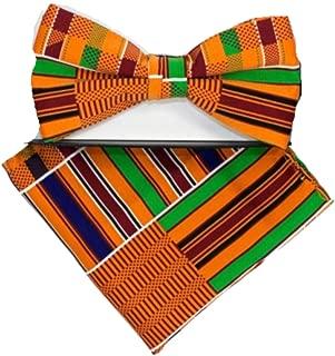 Men's Microfiber Kente African Print Pre-tied Bow Tie & Pocket Square Hankie Gift Set