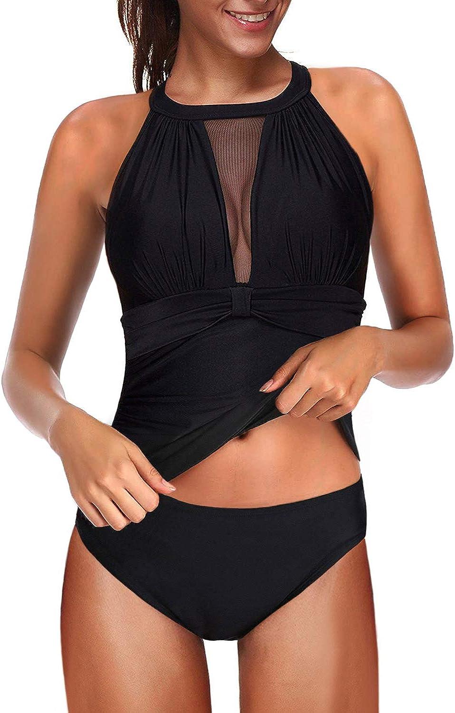 Acelitt Women Two Pieces Tankini Set High Neck Swimsuit (4 Color,S-XXL)