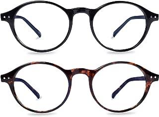 Blue Light Blocking Glasses 2 Pack, Anti Blue Light Reading Glasses Round Shape, Computer Gaming Glasses for Anti Eyestrain, UV400 Protection, Sleep Better (1.50X)