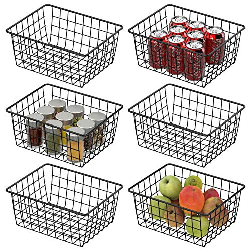 Wire Baskets, Cambond 6 Pack Wire Storage Basket Durable Metal Basket Pantry Organizer Storage Bin Baskets for Kitchen Cabinets, Pantry, Bathroom, Countertop, Closets (Black, Small)