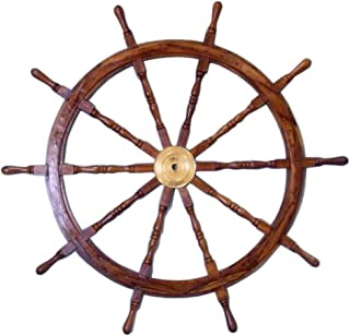 Nautical  Deluxe Class Wood and Brass Decorative Ship Wheel 36