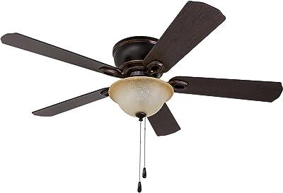 Harbor Breeze Mayfield 44 In Antique Bronze Flush Mount Ceiling Fan With Light Kit Amazon Com