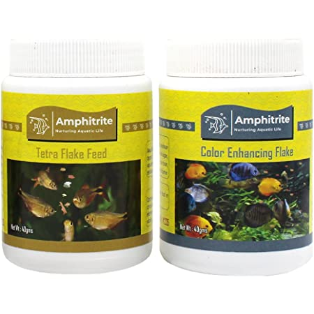 Amphitrite Dry Fish Food, Tetra Flake Feed & Color Enhancing Flake Complete Diet for Tropical Fishes, Ornamental Fishes and Aquatic Species, Combo Pack - (Combo Pack of 2, 40g& 40g)