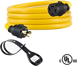 Yodotek 10 FEET Heavy Duty Generator Locking Power Cord NEMA L14-30P/L14-30R,4 Prong 10 Gauge SJTW Cable, 125/250V 30Amp 7500 Watts Yellow Generator Lock Extension Cord with UL Listed