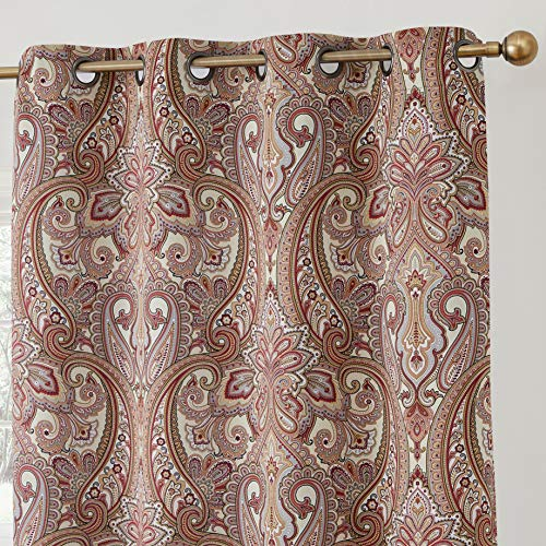 HLC.ME Paris Paisley Decorative Print Damask Pattern Thermal Insulated Blackout Energy Savings Room Darkening Soundproof Grommet Window Curtain Panels for Bedroom - Set of 2 (50 W x 84 L, Spice Red)