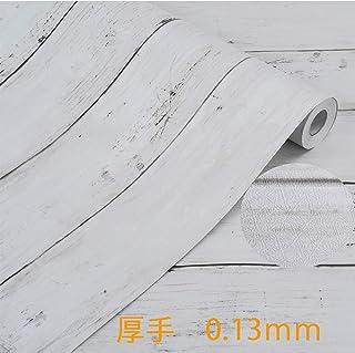 厚手 壁紙シール Harmn home 木目 壁紙 はがせる リメイクシート カッティングシート ふすま紙 アンティー ホワイト 45cm X 10m ……
