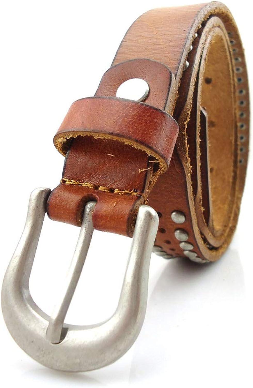 Canvas Belt Lady's Belt Rivet Genuine Leather Belt Leisure Belt for Dress Pants (Size   S)