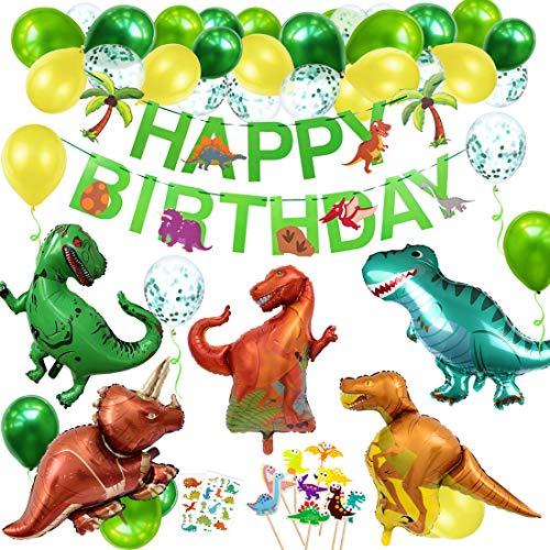 Ballon Anniversaire Dinosaure, Dinosaure Décorations Anniversaire Garcon Enfant-Bannière Joyeux Anniversaire, Latex Ballons et Dinosaure Animaux Ballon pour Garçon Anniversaire Bébé Douche décor