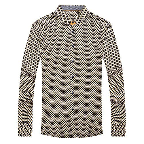 Q-QQ9 Mercerized Cotton Long-Sleeved Shirt-Men's Youth Popular Lapel Shirt-dot-fit Cotton Cardigan*Cream Color*L MMM