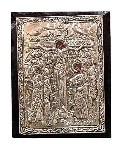 Handgemachte griechisch-christlich-orthodoxe Holzikone der Kreuzigung von Jesus Christus (24 x 19 cm) Duft mit Heiligem (Chrisma - Myrrhe)