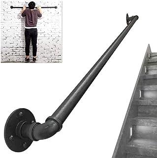 手すり, (1ft-20ft)扶手-成套工具,工业风铁艺管楼梯扶手,壁挂式安全扶手,家庭入口走廊围栏,黑色 (Size : 6ft)