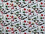 Weihnachten Pinguin Print Polycotton Kleid Stoff Sky