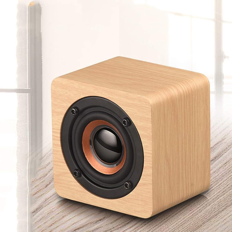 空気潜む国際ポータブ 木の小型無線ブルートゥースのスピーカー1200mAh大きい電池が付いている木製のサブウーファーのブルートゥース4.2のスピーカー (Color : Yellow wood grain)