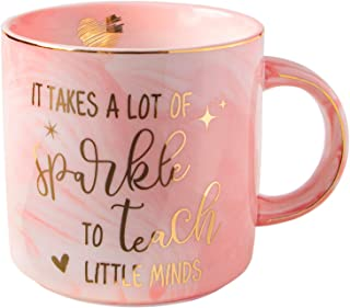 Vilight Teacher Gifts Teachers Mug for Women – It Takes A Lot of Sparkles to Teach Little Minds – Gift for Preschool Daycare Teacher Pink Marble Ceramic Coffee Cup 11 Oz