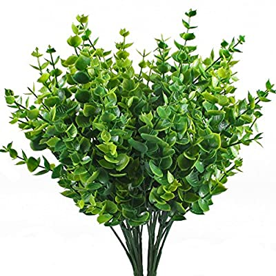 HOGADO Artificial Plants, 4pcs Fake Plastic Plant Eucalyptus Leaves Faux Tree Shrubs Bushes Indoor Outside Home House Garden Office Decor Green