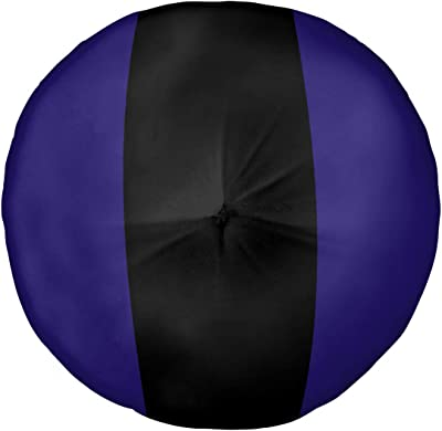 ArtVerse NFS Baltimore Football Stripes Floor Pillow - Round Tufted, 26 x 26, Purple and Black