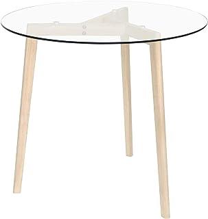Tidyard Table de Salle à Manger Table de Cuisine en Verre trempé Transparent 80 cm