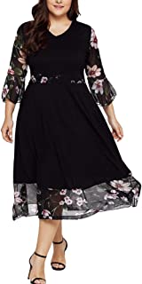 TOTOD Women Dresses Fashion V Neck Appliques Floral Plus Size Solid Bodycon Party Prom Midi Dress