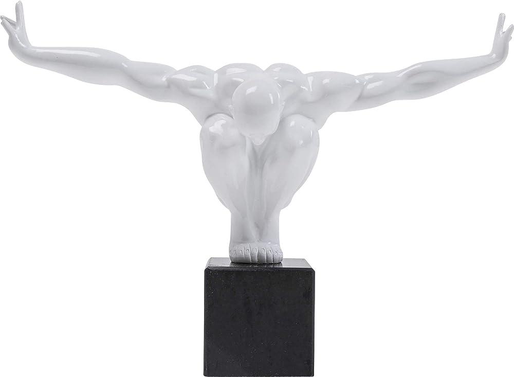 Kare fitness statua design uomo scultura oggetto deco atleta, bianco
