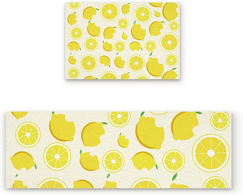 Non Slip Kitchen Rug Set 2 Piece, Floor Mat Carpet Runner,Hello Summer Yellow Lemon (19.7x31.5in+19.7x63 inches)