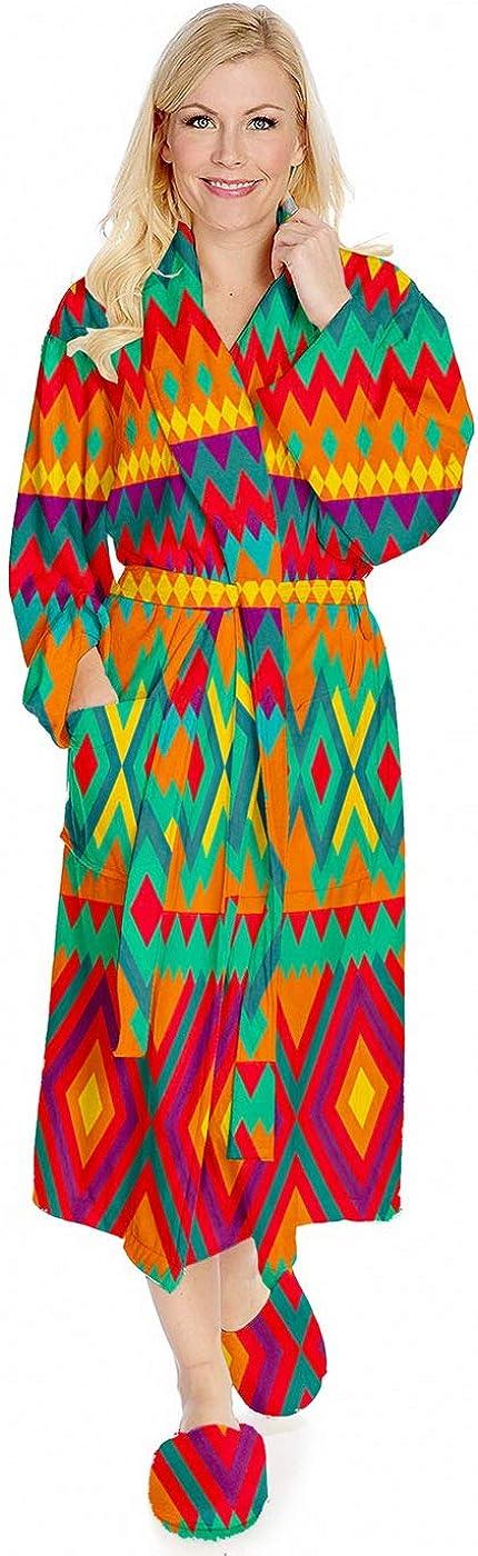 Carpet Pattern Robe,Flannel Keep Warm Sleepwear Long Robe Soft Plush Bathrobes Warm Lightweight Nightgown,Ethnic Mexican Ornament Geometric Figures - (Small-Medium-Large)