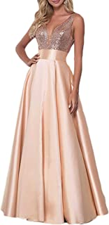 HerDress Women's V-Neck Sequin Prom Dress Long Backless Bridesmaid Dress W/ Pockets