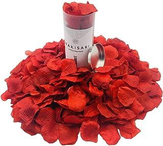 Pétalos de rosa artificiales falsos de WAKISAKI (separados, desodorizados) para una noche romántica, boda, evento, fiesta, decoración, a granel (1000 unidades, rojo oscuro)