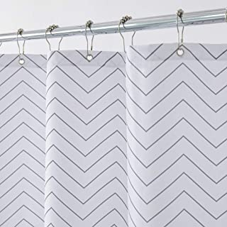 Aimjerry White Striped Fabric Shower Curtain for Bathroom, 72-inch x 72-inch