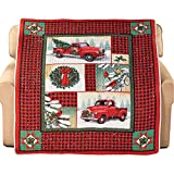 Woodland Truck Patchwork Style Holiday Throw Blanket with Black and Red Checkered Border