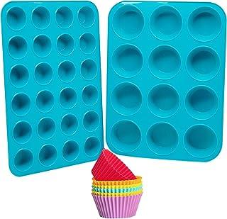 Silicone Muffin Pan Cupcake Set, katbite Mini Muffin Pan 24 Cups & Regular Muffin Tin 12 Cups, Nonstick Silicone Cupcake P...