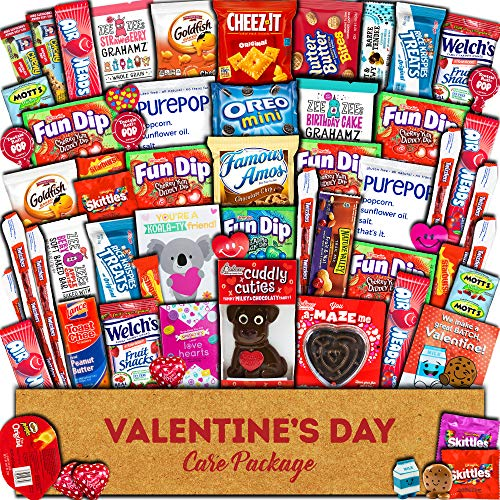 Valentine's Day Care Package (60ct) Snacks Chocolates Candy Gift Box Assortment Variety Bundle Crate Present for...